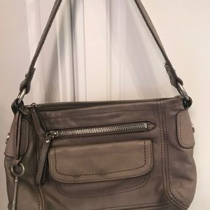 Fossil Long Live Vintage Taupe Leather Purse w/key